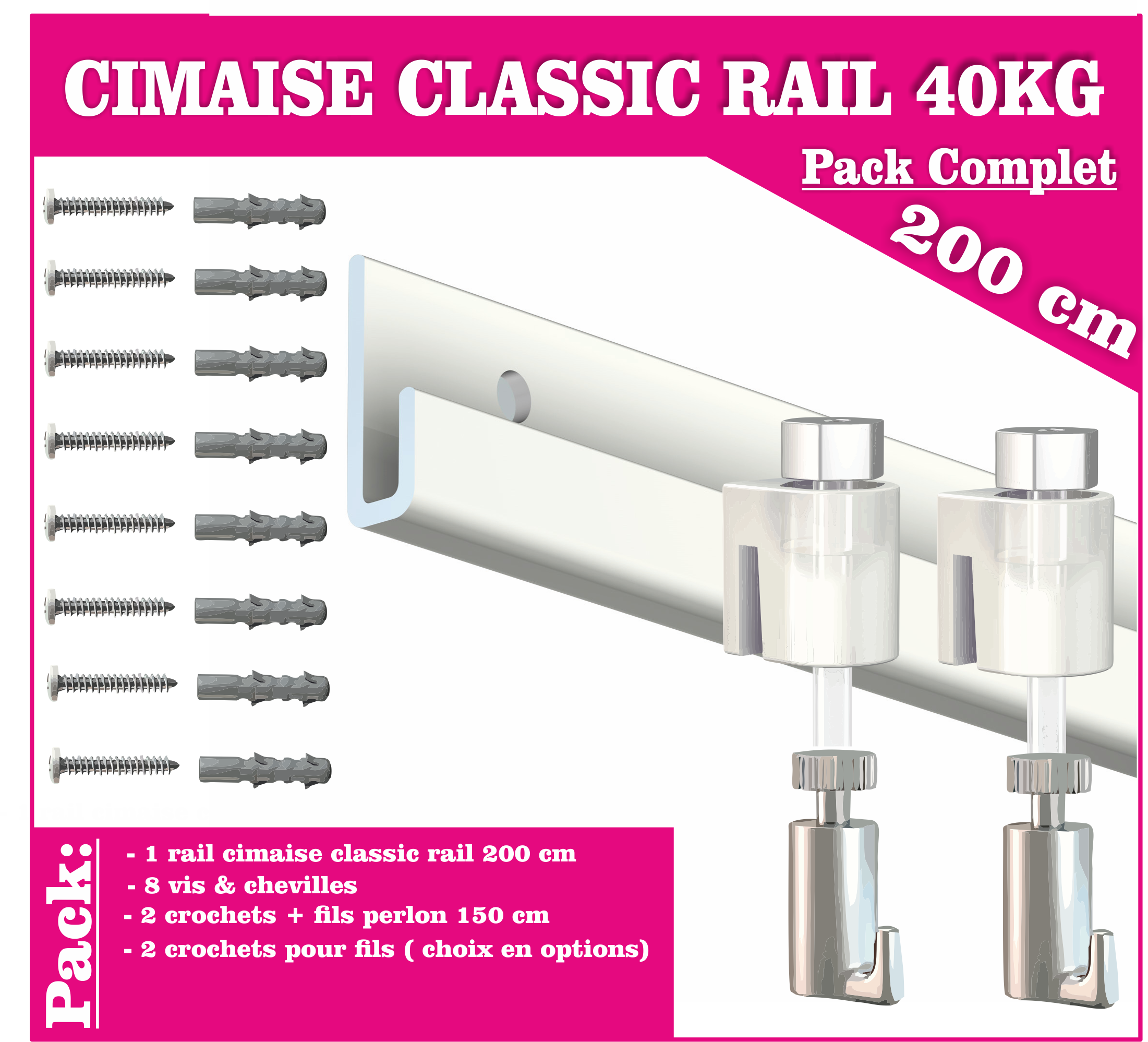 Good kit cimaise tableau studio classic rail cm version perlon with crochet cimaise with rail - Accroche tableau ikea ...