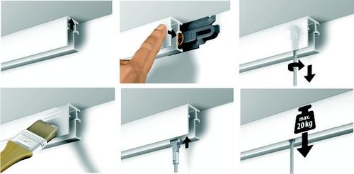 cimaise et cimaises pour tableau cimaise minii click rail n 1 accrochage en europe. Black Bedroom Furniture Sets. Home Design Ideas